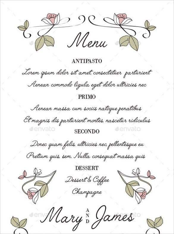 simple clear wedding menu template for download