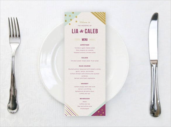 corporate wedding menu template download