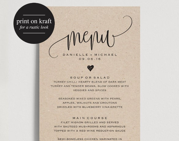 wedding menu template for instant download