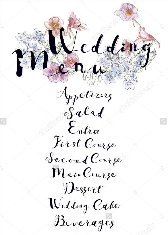 water colors wedding menu template for download