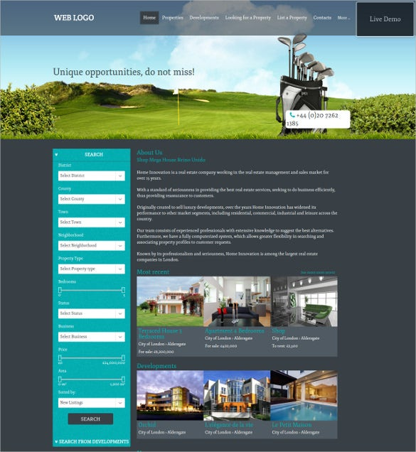 elegant real estate website template