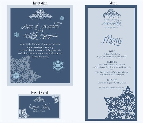 specilally designed wedding menu template free download