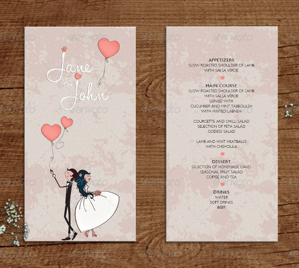 wedding menu template for download