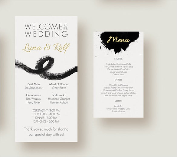 complete wedding menu template download