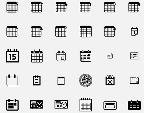 plain calendar icons bundle