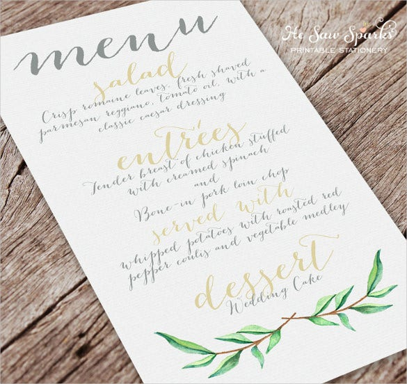 hand painted wedding menu template