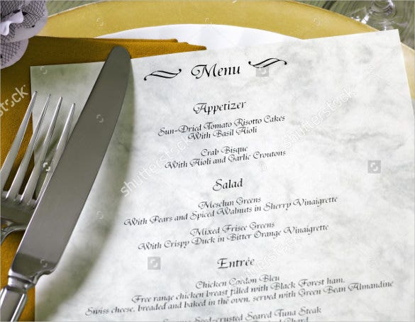luxury wedding menu template download