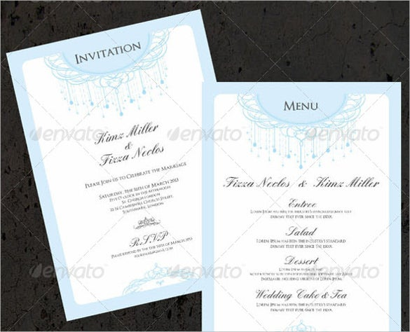 elegant wedding menu template for free download