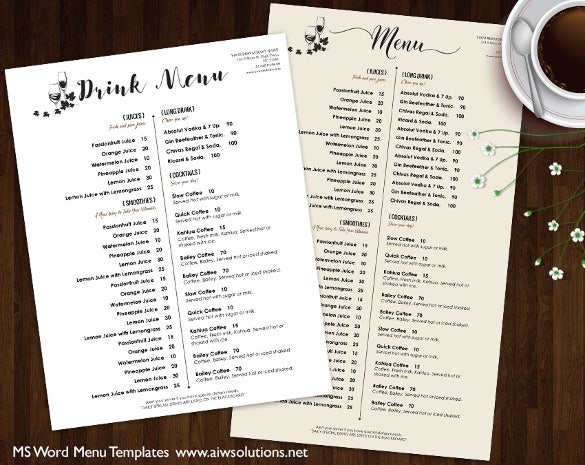 drink menu template word