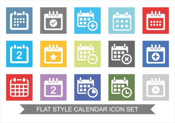 flat set of calendar icons