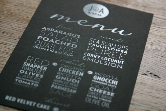 modren wedding menu template free download