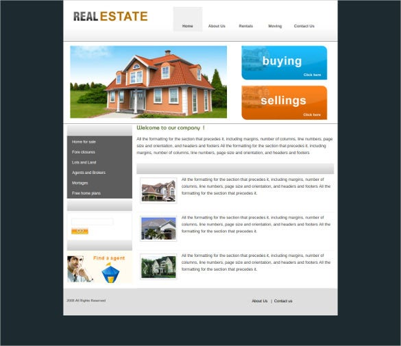 free real estate css website template
