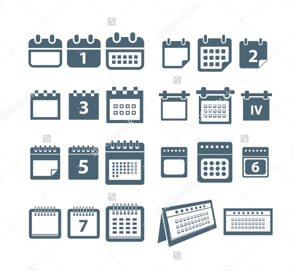 different web icons calendar bundle download