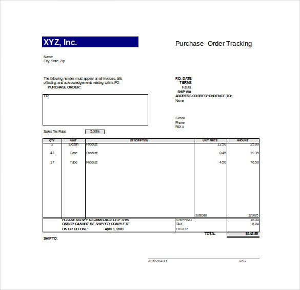purchase order tracking excel format download