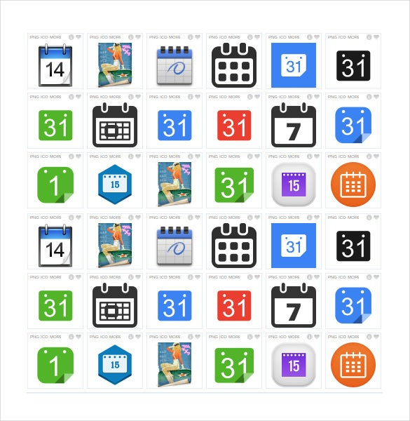 colorful calendar icons download