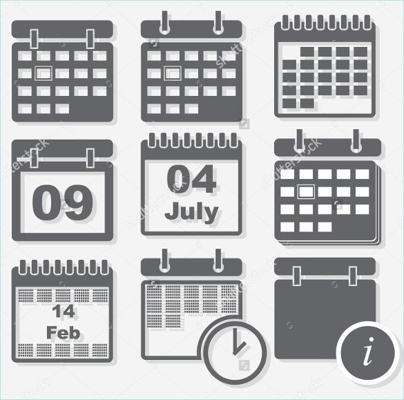 grey calendar icons download