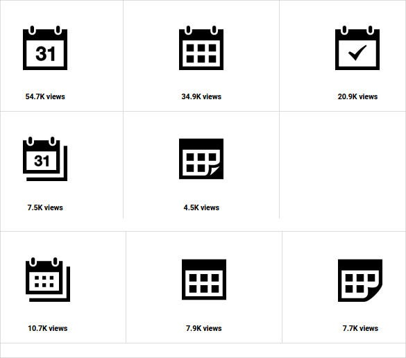 fully black calendar icons bundle