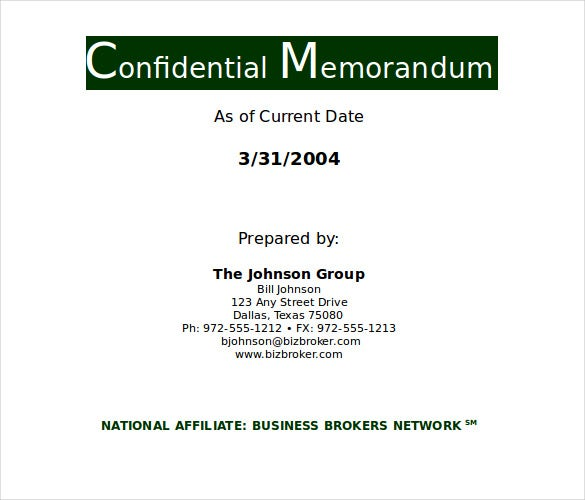 confidential memorandum pdf template download