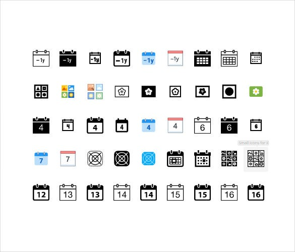 black plain calendar icons bundles