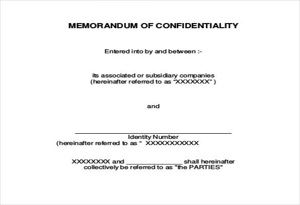 confidentiallity memo agreement download in pdf