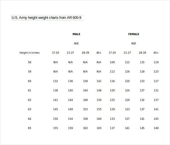 Word Height Weight Chart Templates Free Download  Free  Premium