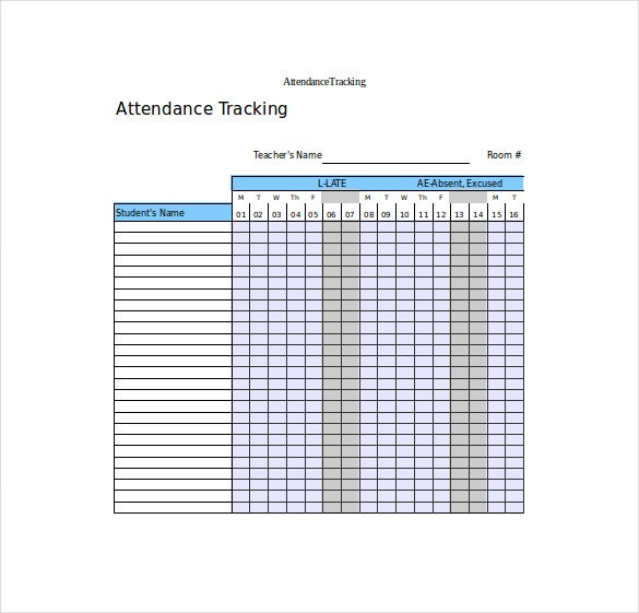 Attendance Tracking Template 10 Free Word Excel PDF Documents – Sample Attendance Tracking