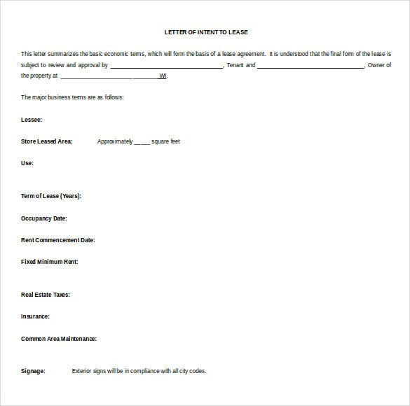 lease letter of intent free download word format