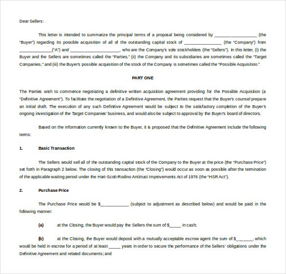business letter of intent free word format download