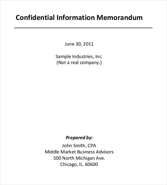 confidential information memorandum pdf template1