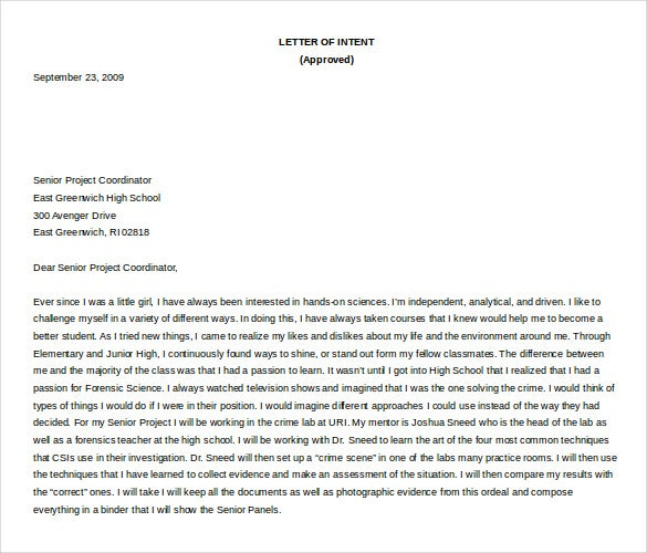 teacher letter of intent free word format download