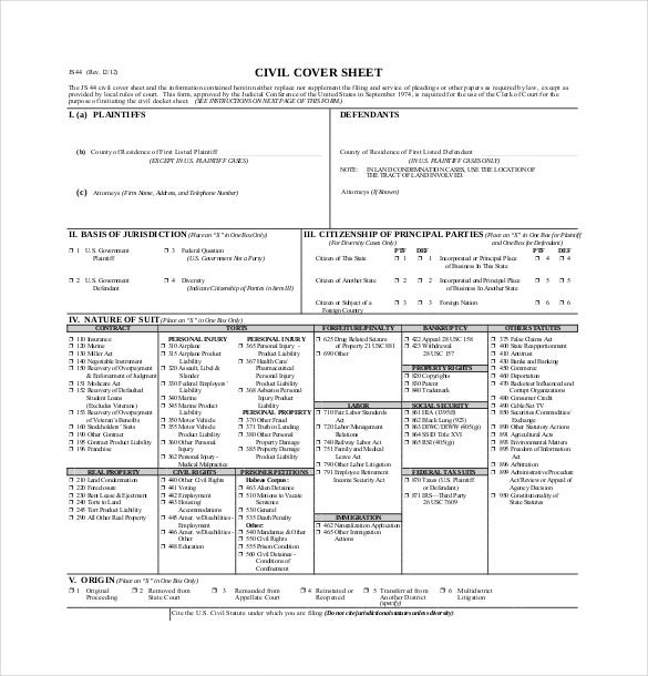 jurdiciary civil cover sheet download