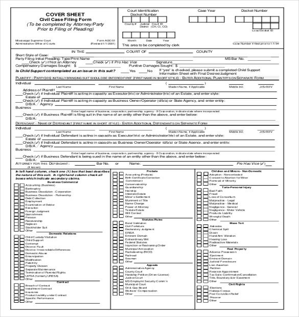 civil case cover sheet filling form download