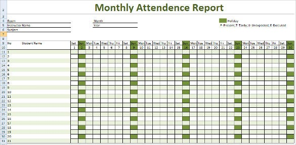 Monthly Attendance Report Tracking Template Download  Employee Attendance Record Template