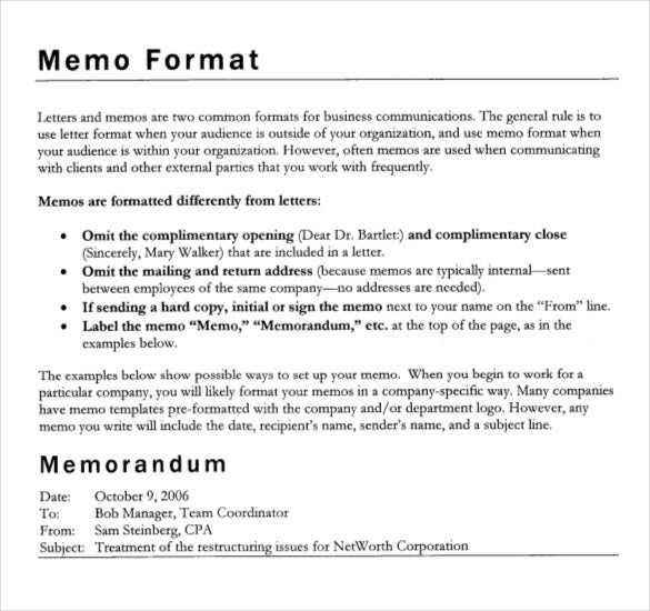 Formal Memorandum Template | Formal Memorandum Template 8 Word Excel Pdf Documents Download