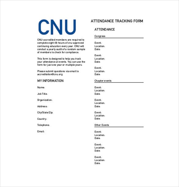 cnua event tracking form pdf format download
