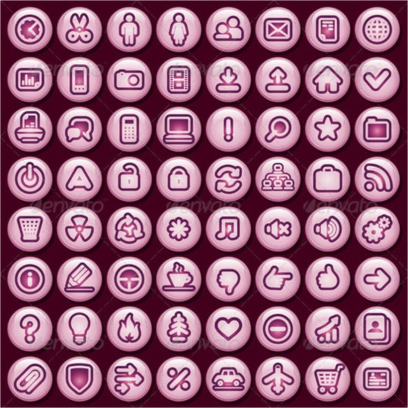 simple pink social media buttons download