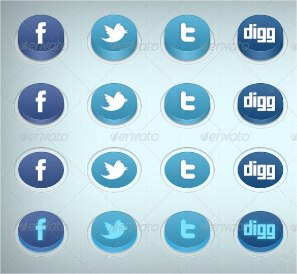 unique 3d social media buttons download