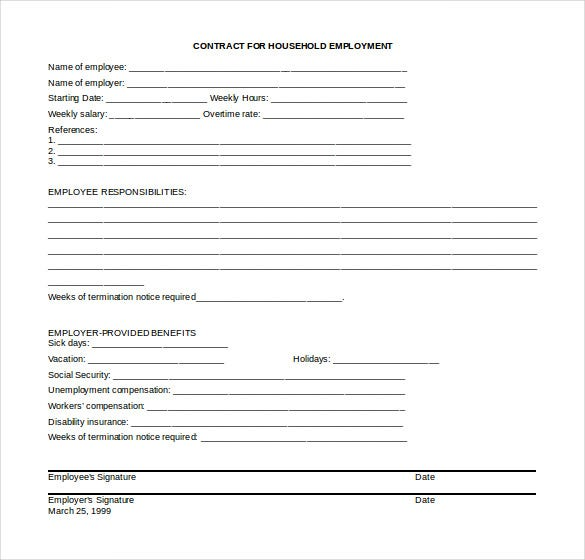 household employment termination letter word format free template