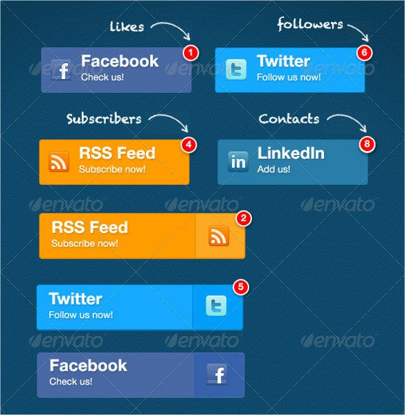 flat social media buttons set download