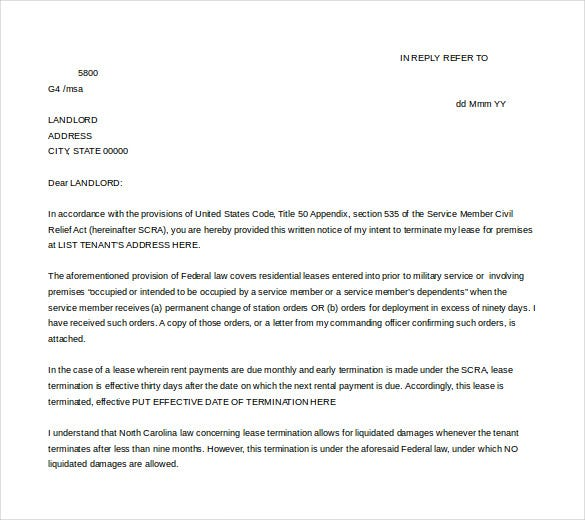 lease termination letter free microsoft word format