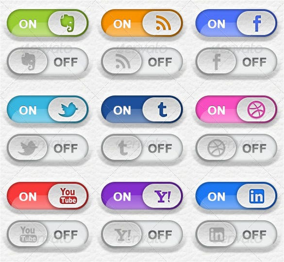 9 toggle switch social media buttons download