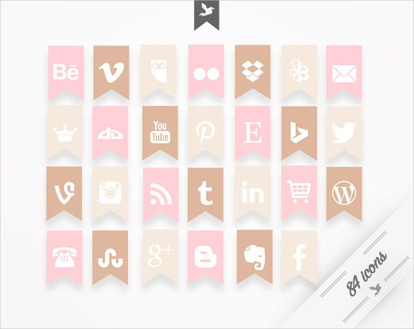 subtle and feminine social media button design