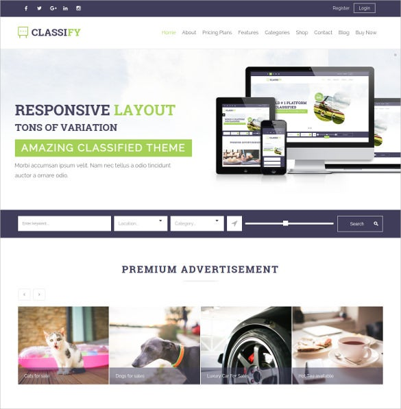 classified ads html5 wordpress theme