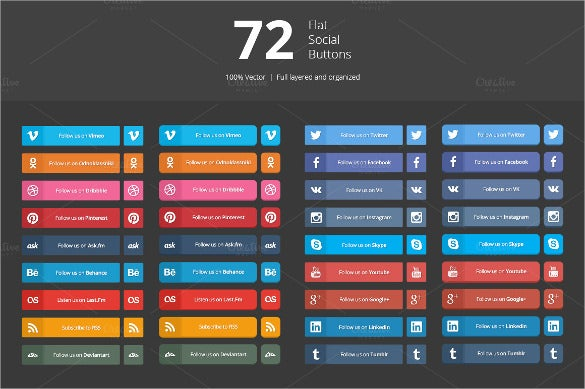 72 flat social media buttons download