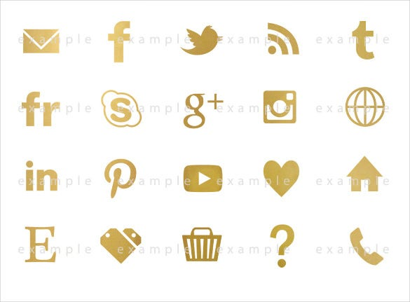 gold colour social media buttons download