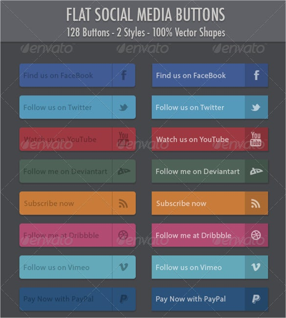 128 flat social media buttons pack download