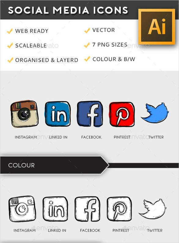 illustrative social media buttons download