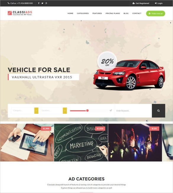 classified ads html5 wordpress website theme