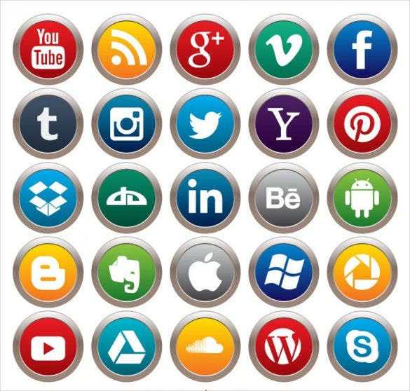 free vector social media buttons pack download