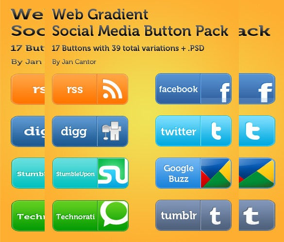 web social media button free download